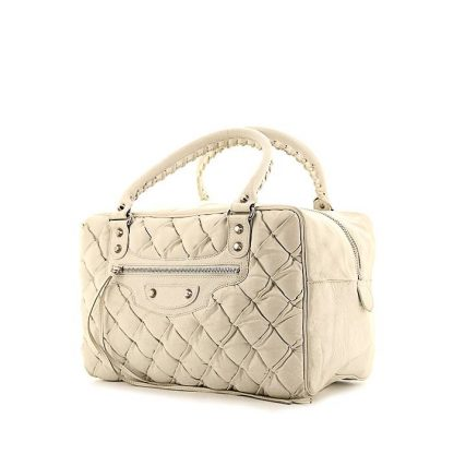 High Quality Balenciaga Replica Handbag In White Quilted Leather