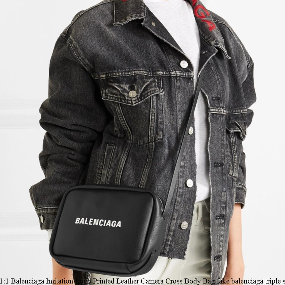 12e9a8fbe60 1:1 Balenciaga Imitation Logo Printed Leather Camera Cross Body Bag fake  balenciaga triple s for sale