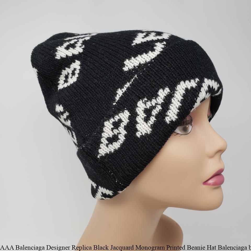 328ba086ffe50 AAA Balenciaga Designer Replica Black Jacquard Monogram Printed Beanie Hat  Balenciaga bags