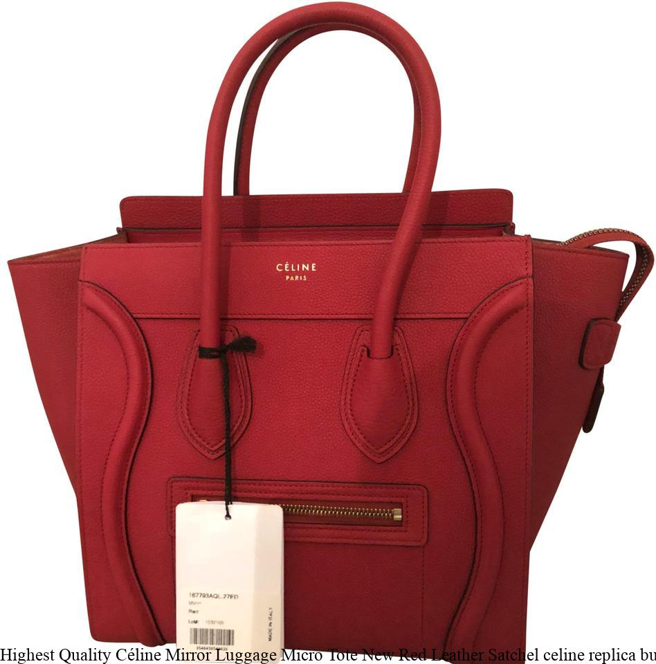 2a61e494ad6 Highest Quality Céline Mirror Luggage Micro Tote New Red Leather Satchel  celine replica bucket bag